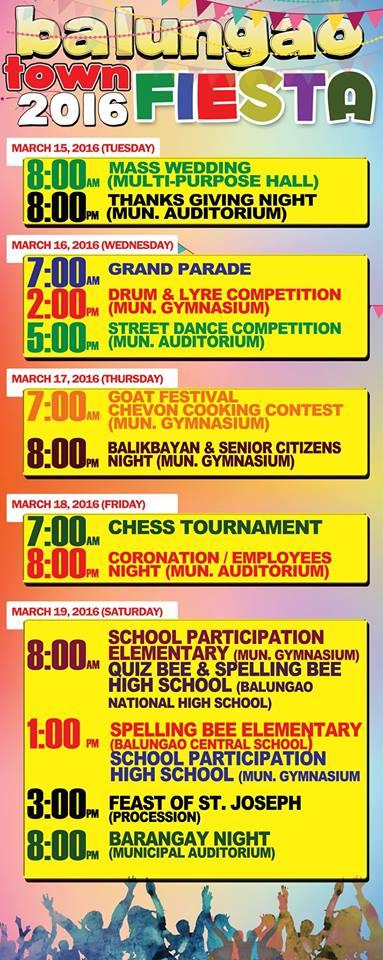 Balungao Town Fiesta 2016 schedule