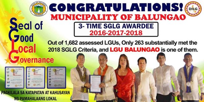 Municipality of Balungao  3-Time SGLG Awardee
