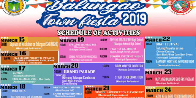 2019 BALUNGAO TOWN FIESTA SCHEDULE OF ACTIVITIES
