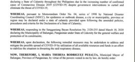 EXECUTIVE ORDER NO. 27, Series of 2020 DECLARING MUNICIPALITY OF BALUNGAO UNDER STATE OF CALAMITY